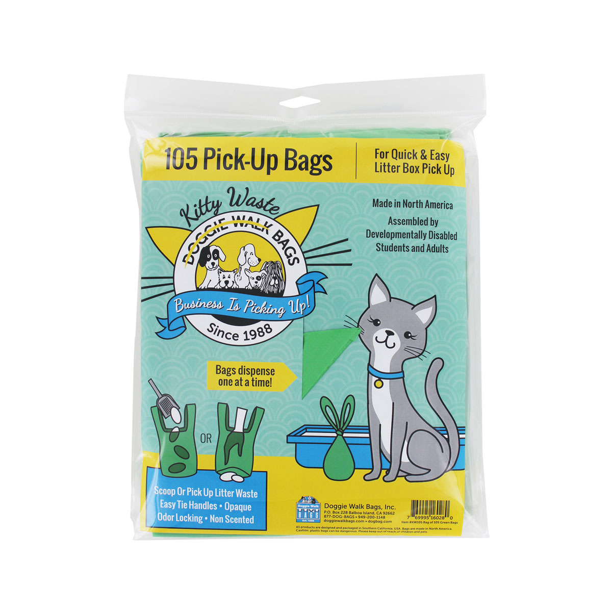 Doggie Walk Bags- Green Kitty Bags
