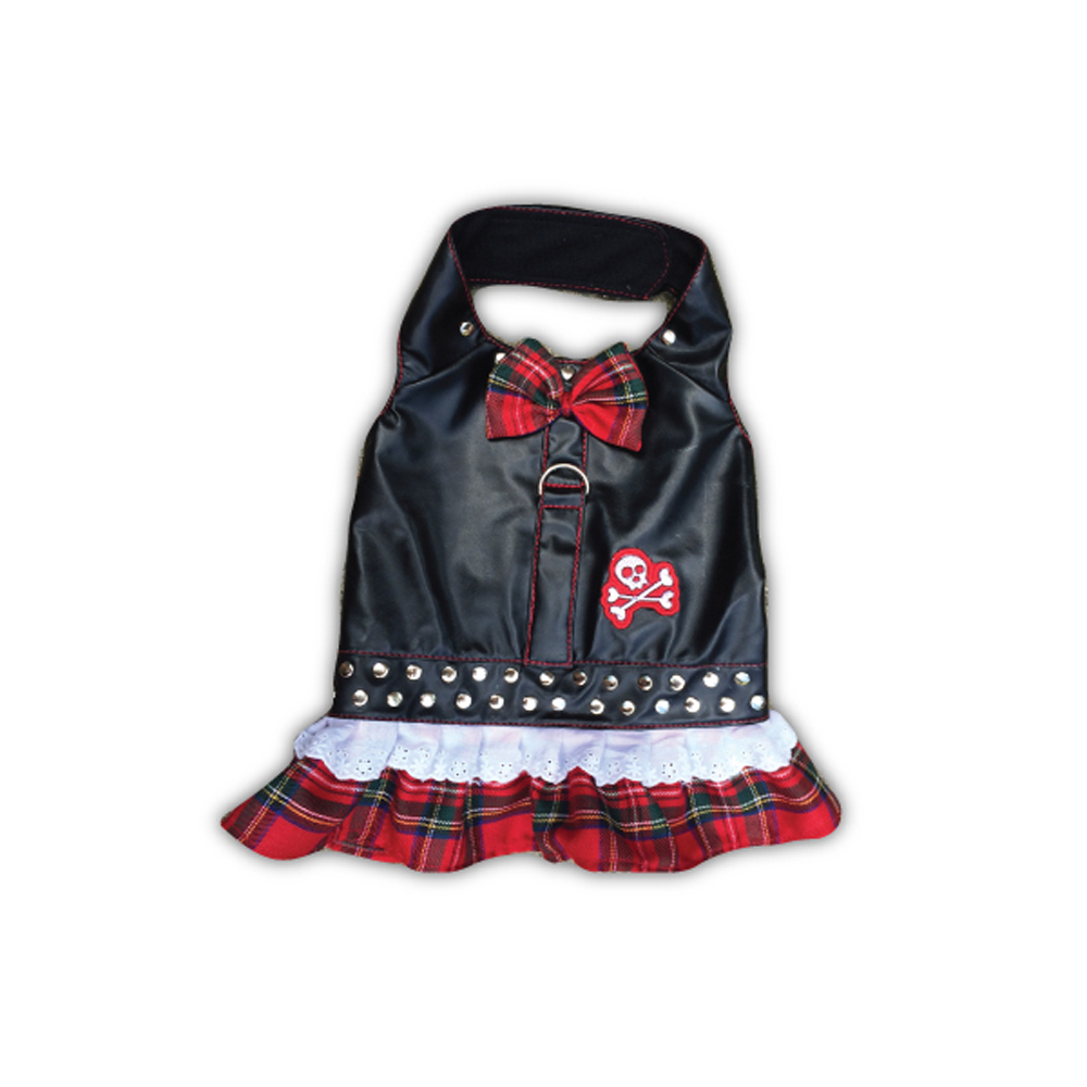 Doggles Harness Biker Red Plaid Dress