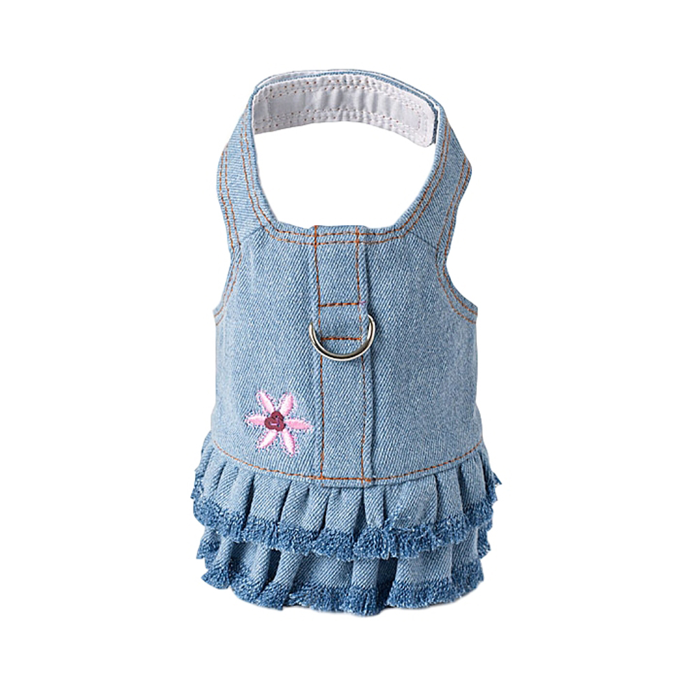Doggles Blue Jean Fringe Harness Dress