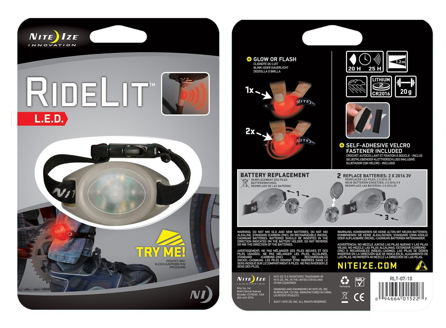 NiteIze- RideLit- LED Riding Light- Safety Flasher