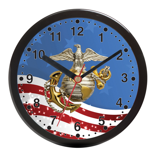 "Aquaforce 12"" Wall Clock with Flag and Colored Log"