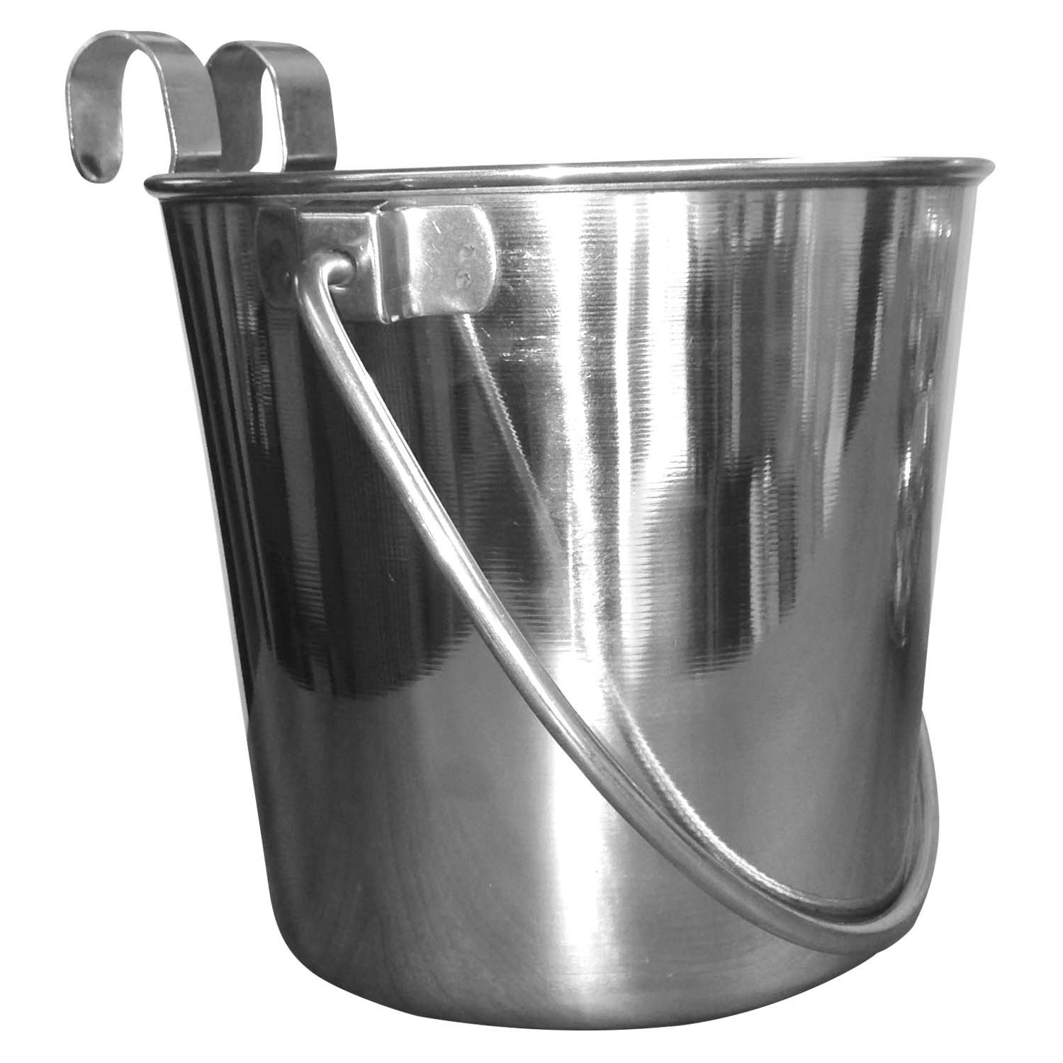 QT Dog - Flat Sided Bucket SS w Hooks