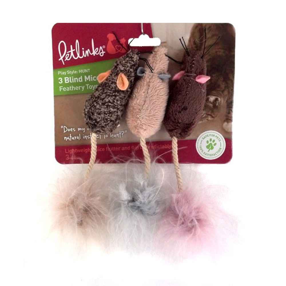 Petlinks 3 Blind Mice Plush Mice w Feather Tail